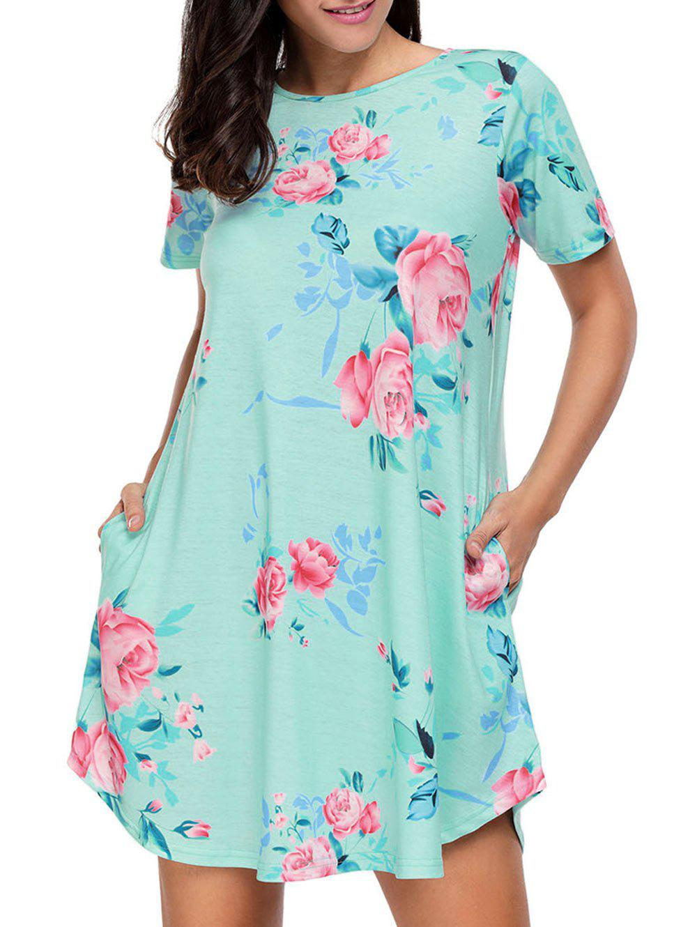 Affordable Floral Pockets T-Shirt Shift Beach Dress