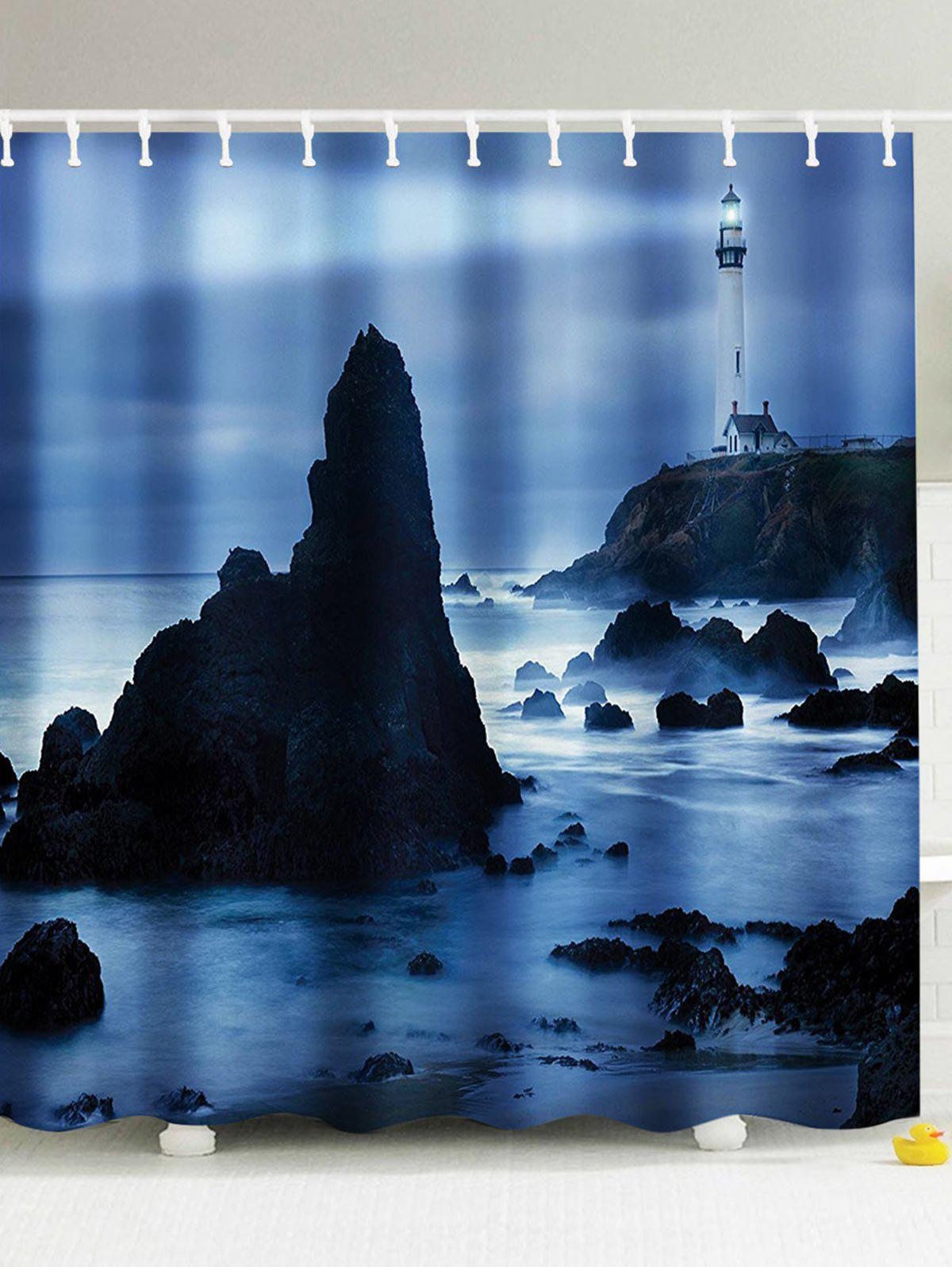 The Lighthouse Light Up On The Sea Shower Curtain