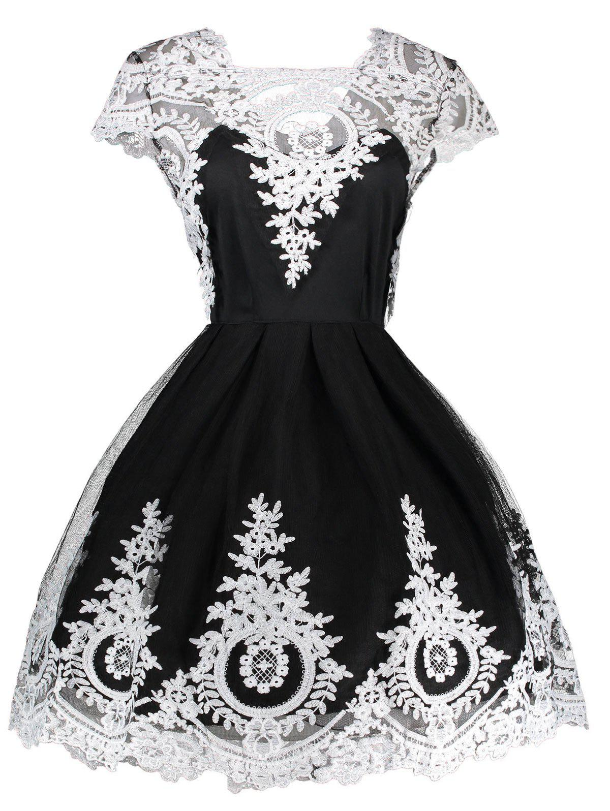 Discount Vintage Lace Panel Mesh Fit and Flare Dress