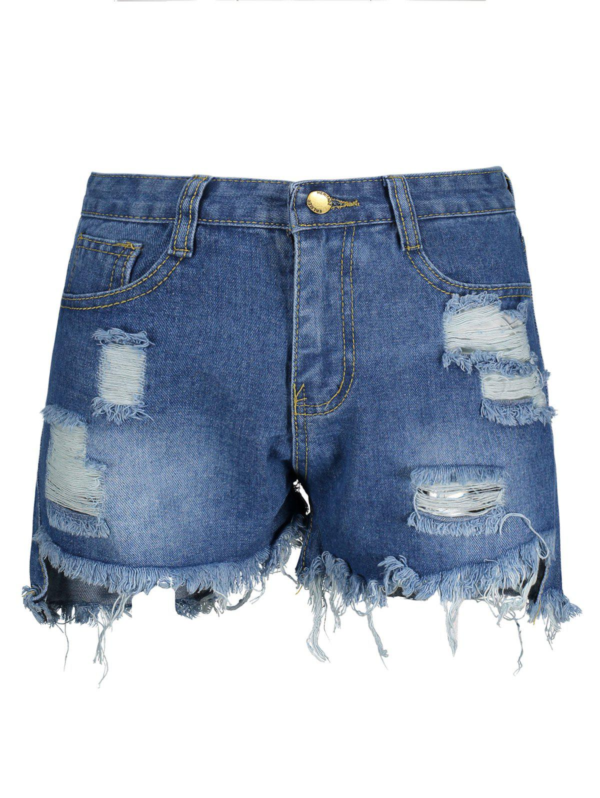 Chic Ripped High Waisted Denim Shorts