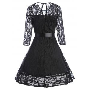 Lace Mini Skater Homecoming Dress with Sleeves - BLACK S