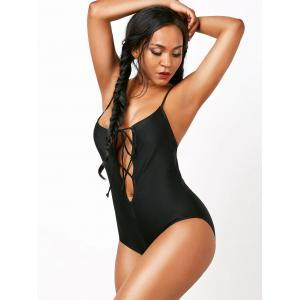 Lace Up Spaghetti Strap Criss Cross One Piece Swimsuit