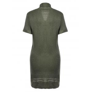 Shawl Collar Buckled Surplice Sweater Dress - ARMY GREEN S
