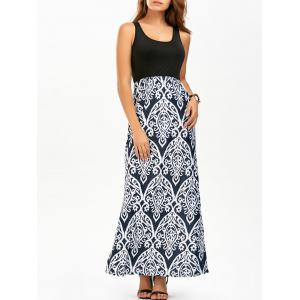 Long Maxi Printed Tank Summer Dress - Black - M