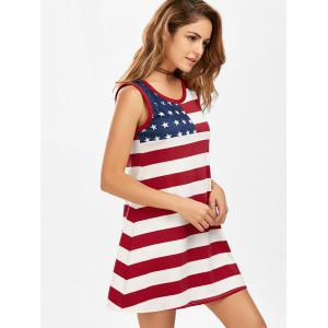 Casual American Flag Patriotic Tunic Mini Dress -