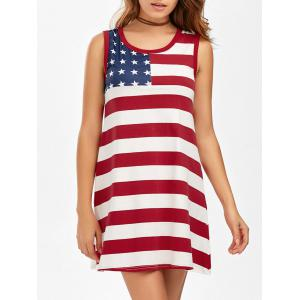 Casual American Flag Patriotic Tunic Mini Dress