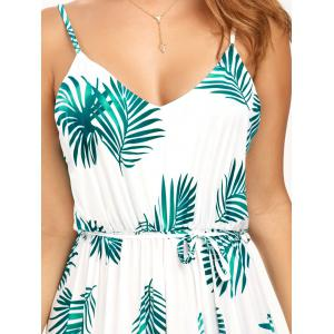 Leaf Print Cut Out Belted Cami Dress - WHITE S