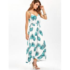 Leaf Print Cut Out Belted Cami Dress - WHITE XL