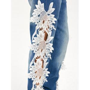 Lace Panel Hollow Out Jeans - BLUE/WHITE S