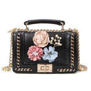 Chain Bead Flowers Crossbody Bag - Black - M