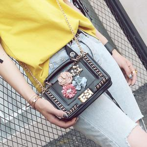 Chain Bead Flowers Crossbody Bag - BLACK