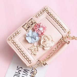 Chain Bead Flowers Crossbody Bag - PINK