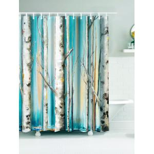 Winterly Forest Print Waterproof Bath Curtain - Cyan - W71 Inch * L71 Inch