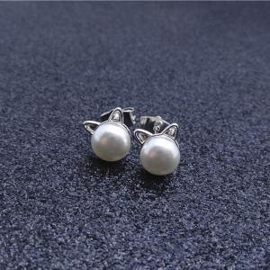 Artificial Pearl Kitten Stud Tiny Earrings - SILVER