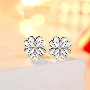 Heart Clover Tiny Stud Earrings