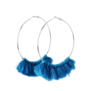 Tassel Metal Circle Statement Hoop Earrings