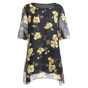 Plus Size Floral Asymmetrical Butterfly Sleeve Blouse