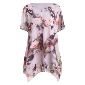Plus Size Asymmetrical Floral Print Layered Blouse