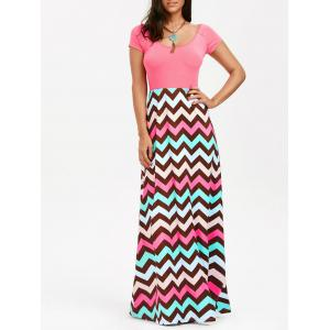 Scoop Neck Chevron Maxi Party Dress - Light Pink - 2xl