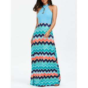 Chevron Print Sleeveless Tank Maxi Dress