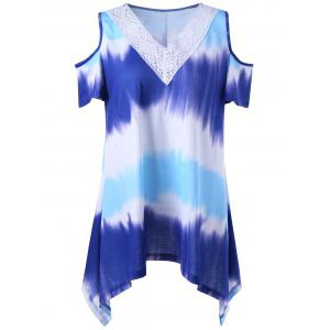 Plus Size Asymmetrical Cold Shoulder Tie Dye T-Shirt