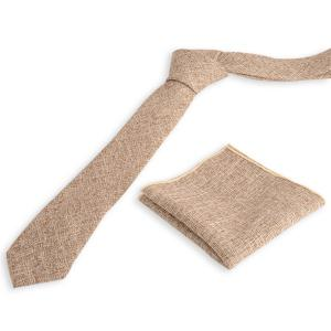 Blend Linen Grain Handkerchief Neck Tie Set - Khaki - Xl