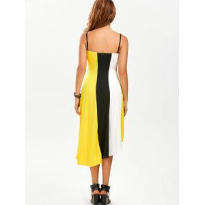 Color Block High Low Tea Length Dress - YELLOW M