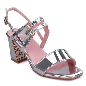 Patent Leather Buckle Straps Sandals - SILVER 38