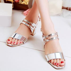 Patent Leather Buckle Straps Sandals -