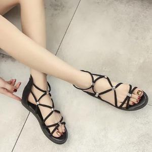 Zipper Strappy Flat Heel Sandals -
