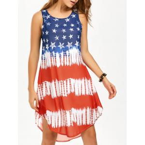 Casual Chiffon American Flag Swing Tank Dress