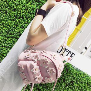 Flowers Faux Leather Mini Backpack - PINK