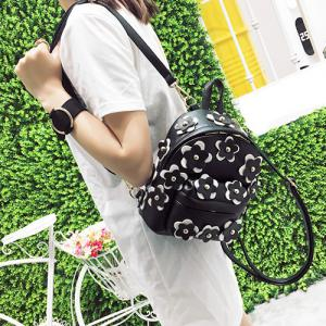 Flowers Faux Leather Mini Backpack -