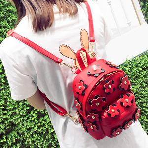 Flowers Faux Leather Mini Backpack - RED