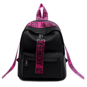 Graphic Print Straps Nylon Backpack - Rose Red - 39