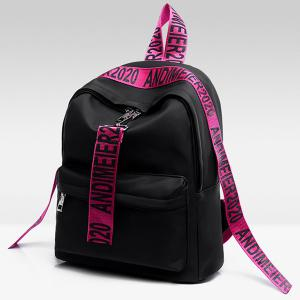 Graphic Print Straps Nylon Backpack - ROSE RED