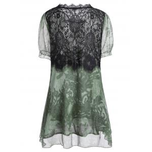Lace Insert A Line Plus Size Mini Dress - Vert 3XL