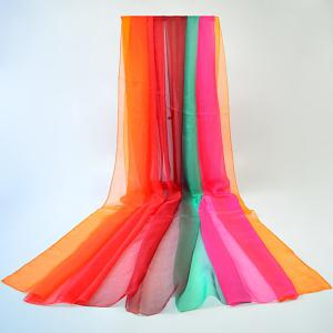 Gossamer Stripe Rainbow Color Chiffon Shawl Scarf