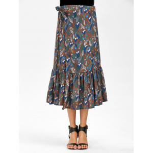 Overall Print Chiffon Mermaid Wrap Skirt