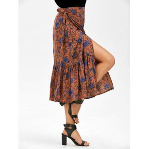 Floral Print Chiffon Mermaid Wrap Skirt