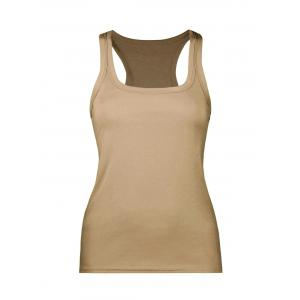 Chunky Edge U Neck Racerback Tank - Brown - One Size