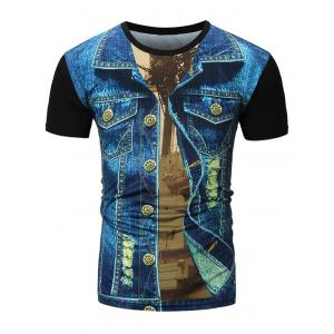Denim Jacket 3D Printed Tee - Denim Blue - 2xl
