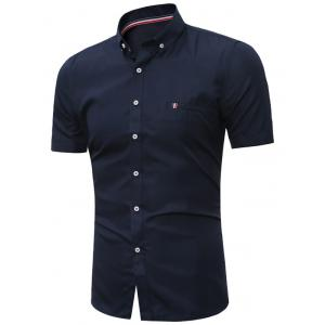 Short Sleeves Button Down Shirt - Purplish Blue - L