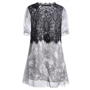 Lace Insert A Line Plus Size Mini Dress -