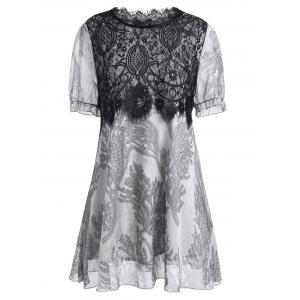 Lace Insert A Line Plus Size Mini Dress