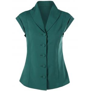 Button Up Shawl Collar Slimming Blouse - Green - 2xl