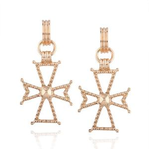 Prayer Crucifix Hoop Drop Earrings - Golden