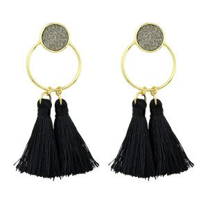 Metal Circle Tassels Hoop Drop Earrings - Black