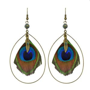 Teardrop Peacock Feather Hook Drop Earrings