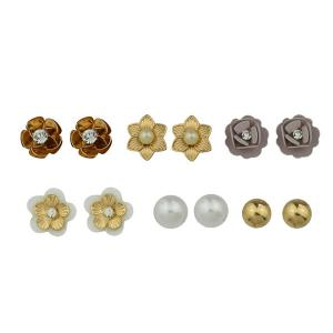 Faux Pearl Rhinestone Flower Tiny Stud Earring Set - Multicolor - 8